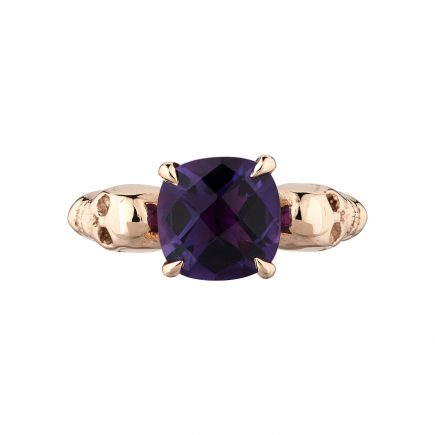 9ct rose gold and Amethyst double-skull ring