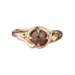 18ct rose gold and rose-cut diamond Woodland vine ring