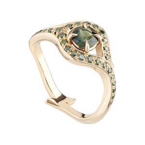 18ct Rose Gold, Round Green Sapphire and Green Diamond Atlantis Ring