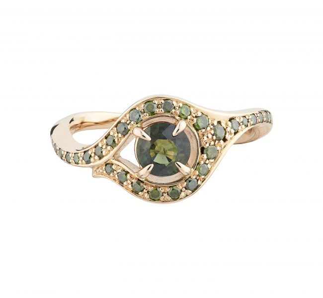 18ct Rose Gold, Round Green Sapphire and Green Diamond Atlantis Ring