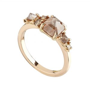 18ct Rose gold rose-cut and rough-cut diamond cluster ring with champagne diamonds