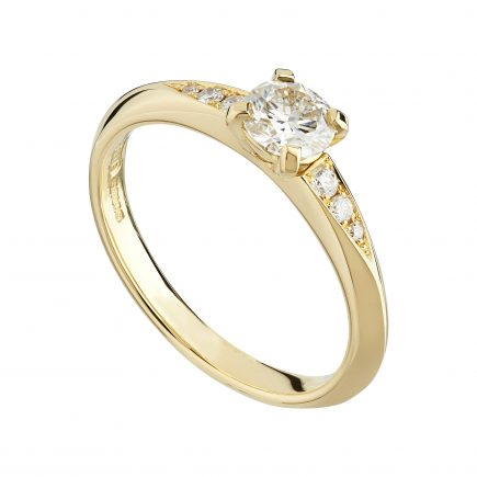 18ct yellow gold Coco engagement ring 0.50pt round white diamond