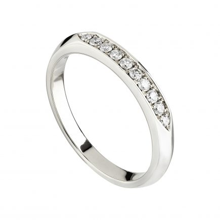 18ct White Gold & White Diamond Coco Knife-Edge Wedding Band With Flat Top