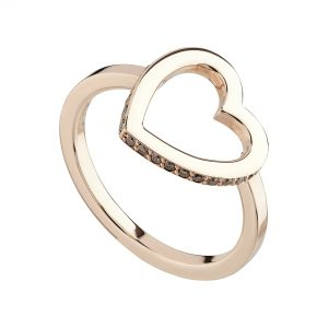 9ct rose gold open Heart ring set with champagne diamonds