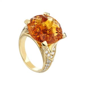 Limited Edition 18ct yellow gold, Citrine and diamond ring