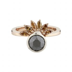 Limited edition 18ct rose gold, black and orange marquise diamond Sun-ray ring
