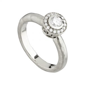 18ct and white diamond Molten filligree Halo engagement ring