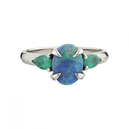 18ct white gold, Black Opal and Emerald Coco ring