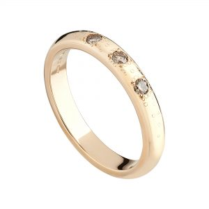 18ct rose gold and champagne diamond Stardust wedding ring