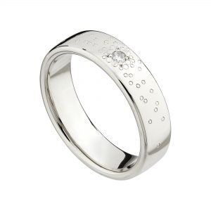 18ct white gold and single white diamond wide Stardust wedding ring