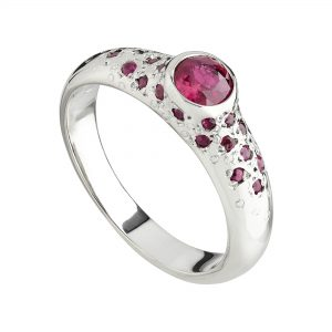 18ct white gold and Ruby Stardust ring