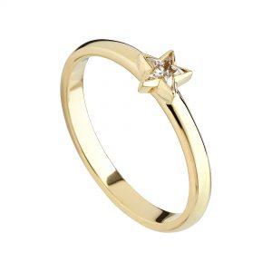 18ct yellow gold fine Star Diamond ring