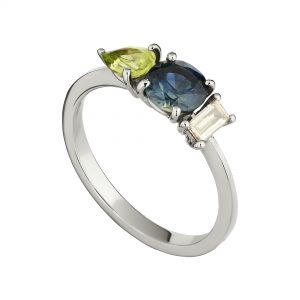 18ct white gold sapphire, diamond and peridot trilogy ring