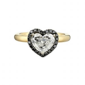 18ct yellow gold and 1.26ct heart shaped diamond engagement ring with black diamond halo