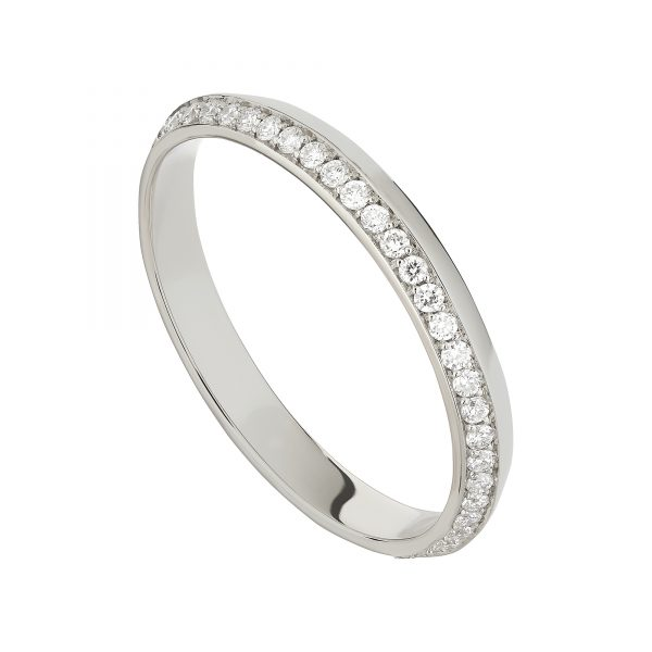 18ct White Gold Coco Fine Wedding Band Full Set With White Diamonds