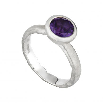 Silver Molten ring with large round Amethyst
