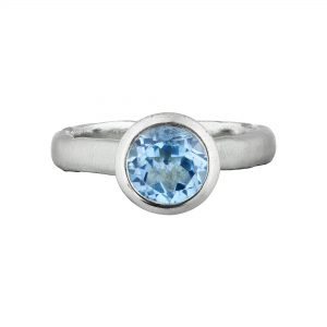 Silver and round Blue Topaz Molten ring