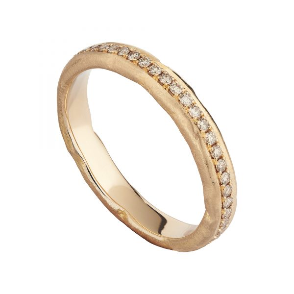 18ct rose gold and champagne diamond molten eternity ring