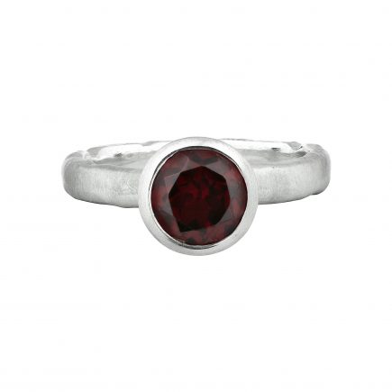 Silver and round Garnet Molten ring