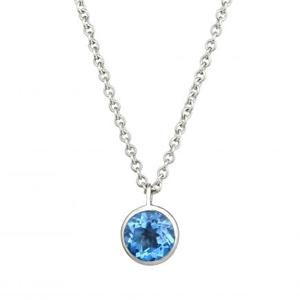 Silver and blue topaz Molten pendant