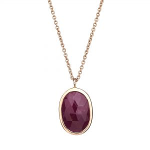 9ct rose gold and rose-cut Ruby pendant