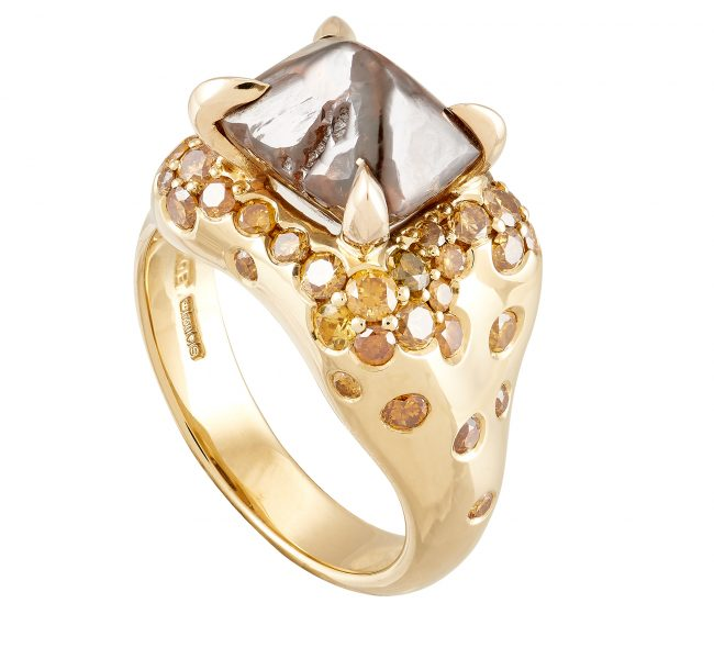18ct yellow gold, 5.60ct brown rough diamond and natural, fancy-coloured diamond Limited Edition ring