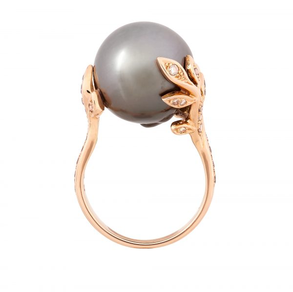 18ct rose gold and Tahitian pearl ring with champagne diamonds