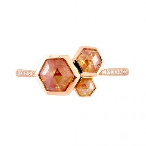 18ct rose gold and Hexagon orange rose-cut diamond cluster trilogy ring with white diamond-set shoulders