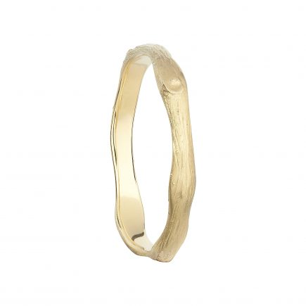 18CT yellow GOLD WIDE WOODLAND WEDDING RING