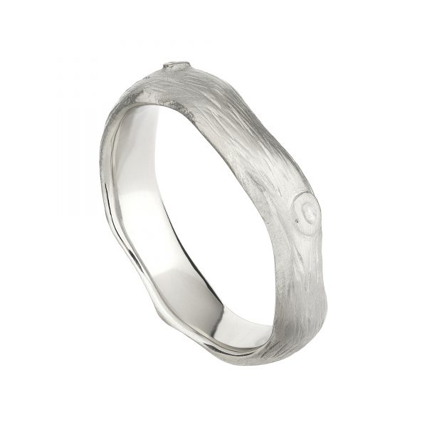 18ct white gold wide Woodland wedding ring