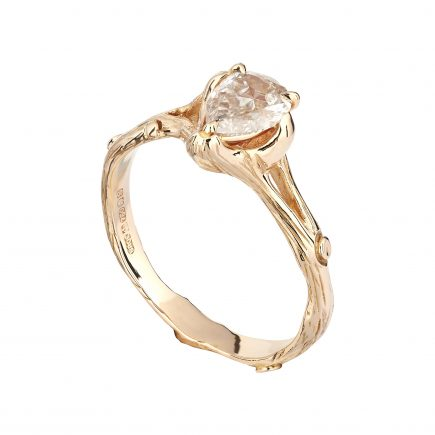 18ct rose gold and pear champagne diamond Woodland solitaire