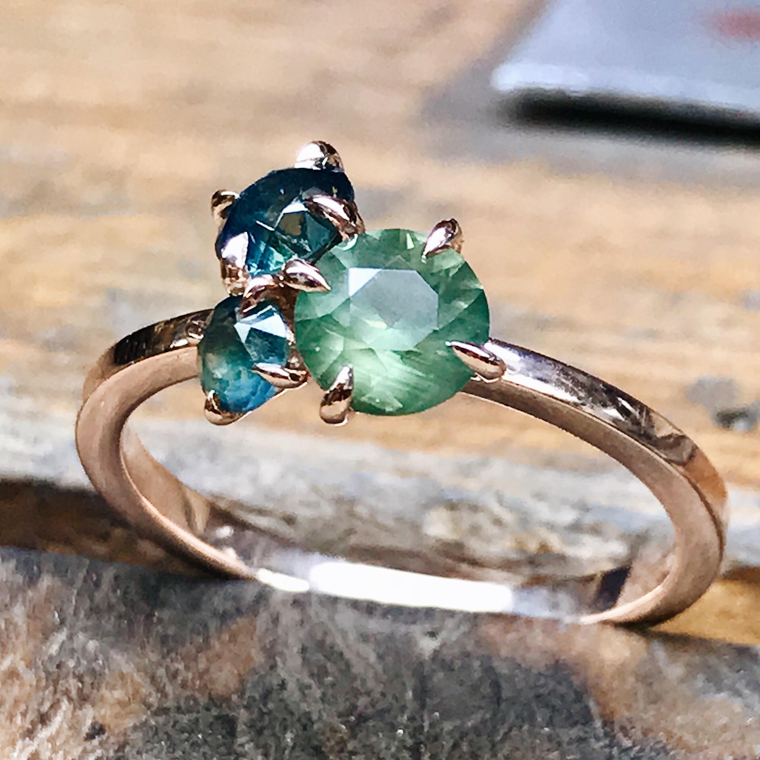 Bespoke triple cluster sapphire ring
