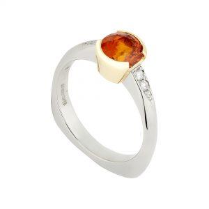 18ct White and Yellow Gold Coco Orange Sapphire and Diamond Ring