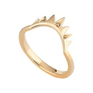 18ct rose gold and champagne diamond Crown ring