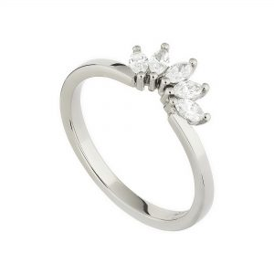 18ct white gold and white marquise diamond tiara ring