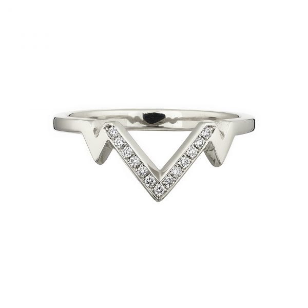 18ct white gold V-shaped tiara ring