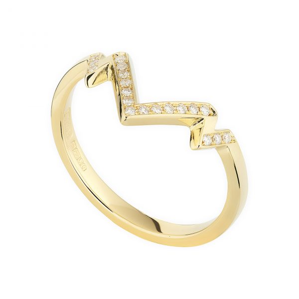 18ct yellow gold and diamond Tiara ring
