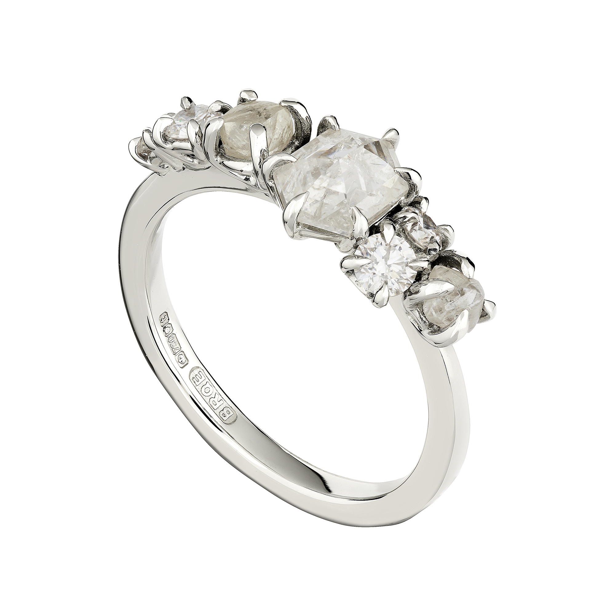 Limited Edition cluster rough and rose-cut diamond