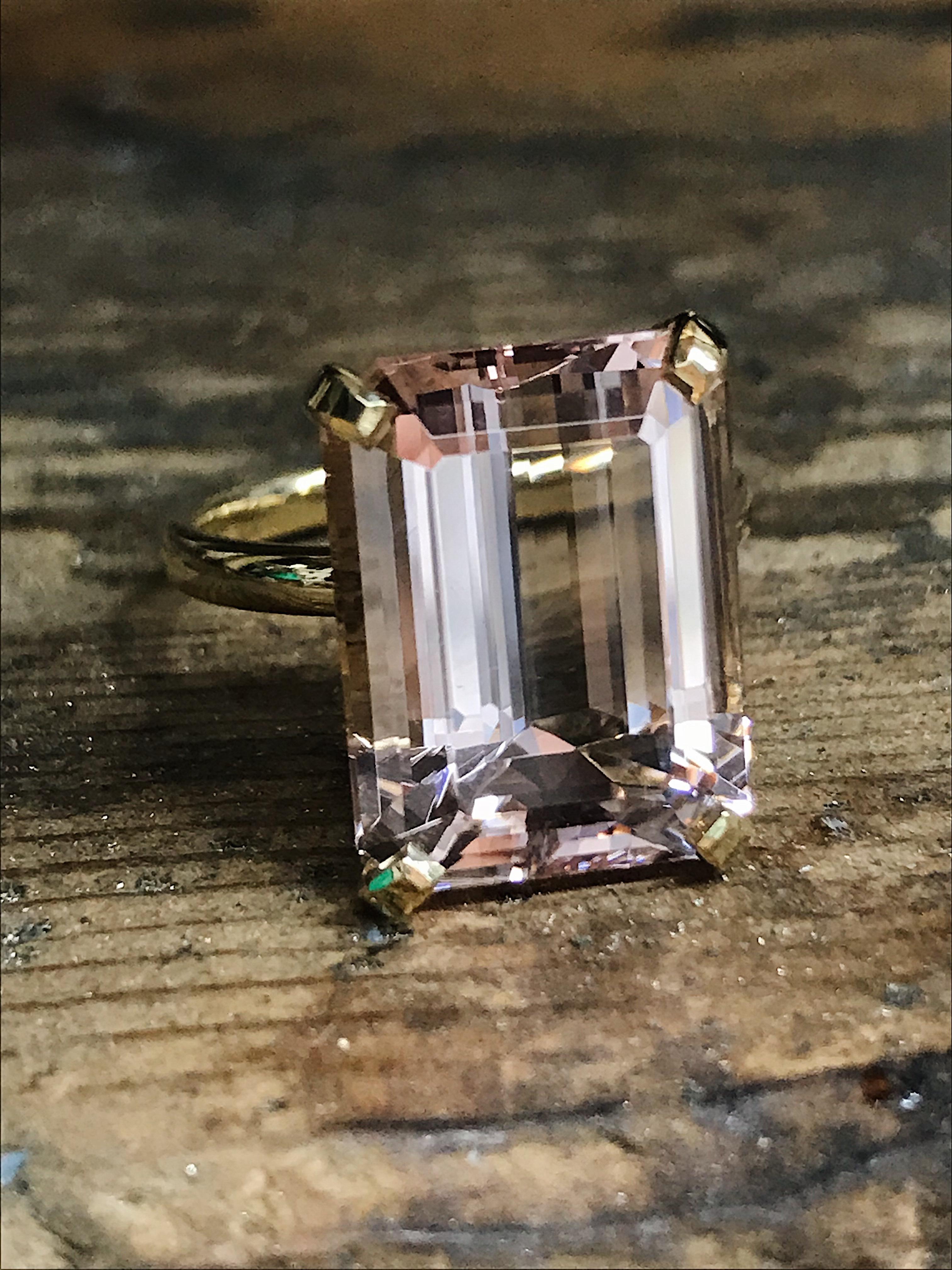 Large yellow gold Emerald-cut Morganite ring