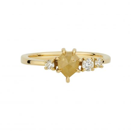 18ct yellow gold and yellow shield shaped rustic diamond engagement ring