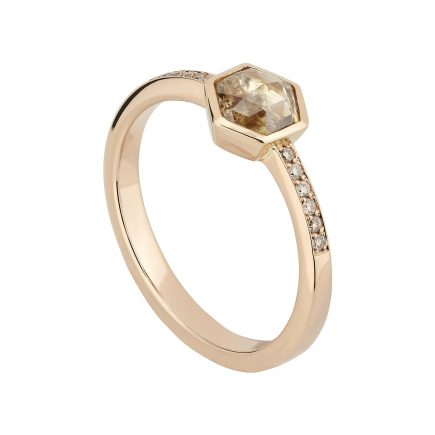 Hexagon rose-cut champagne diamond solitaire in 18ct rose gold and diamond-set shoulders