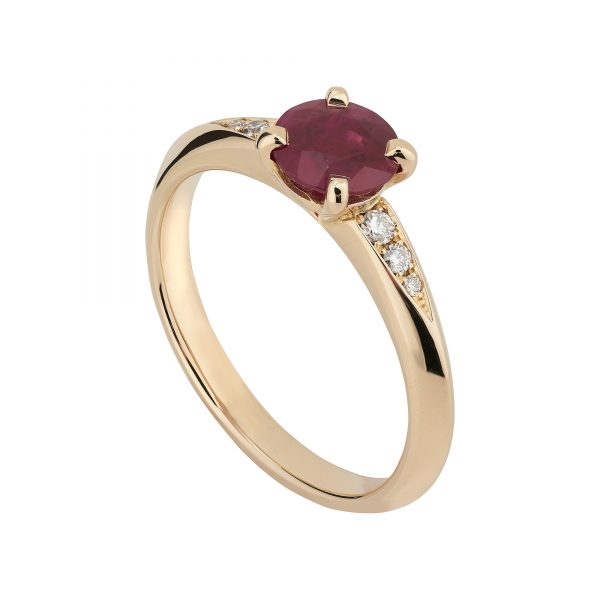 18ct rose gold round ruby coco engagement ring