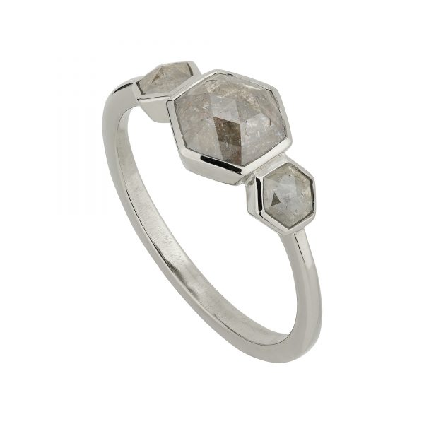 Grey diamond Hexagon Trilogy engagement ring in 18ct white gold