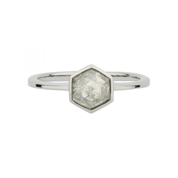 18ct white gold Hexagon Salt and Pepper Diamond ring in 18ct white gold