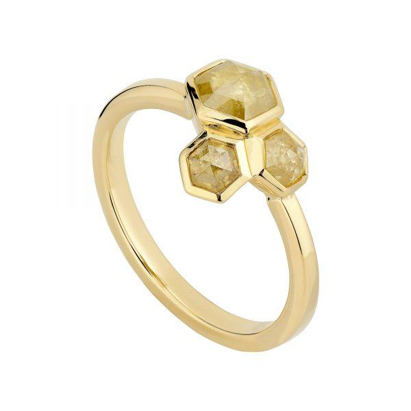 18ct Yellow Hexagon Diamond Cluster