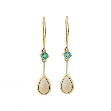 18y drop emerald and opal earrings
