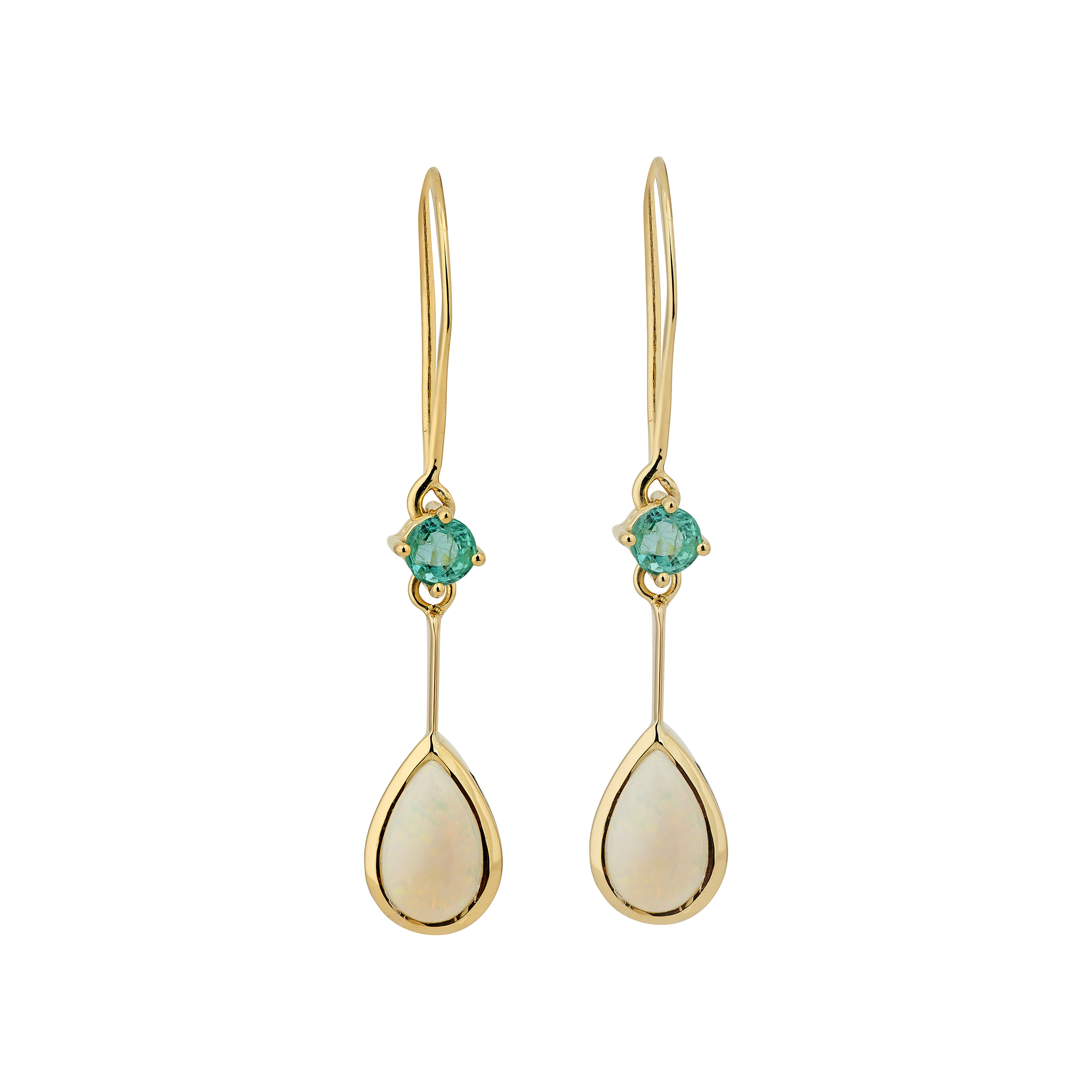 18ct Yellow Gold Emerald And Pear Shaped Opal Earrings