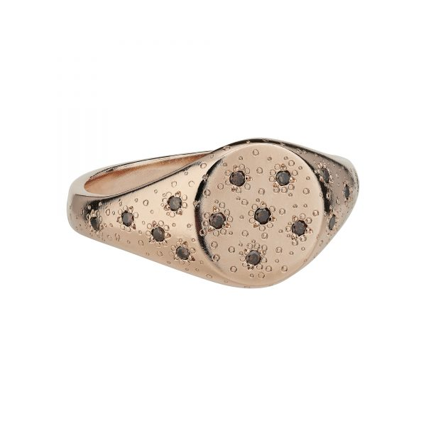 9ct brown dia stardust signet ring