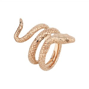 9ct rose gold coiled snake ring with champagne diamond-set eyes