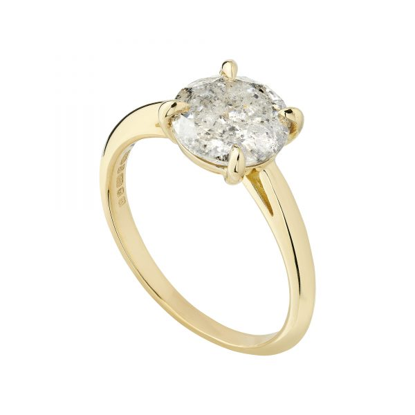 18ct yellow gold 2.02ct salt and pepper diamond engagement ring